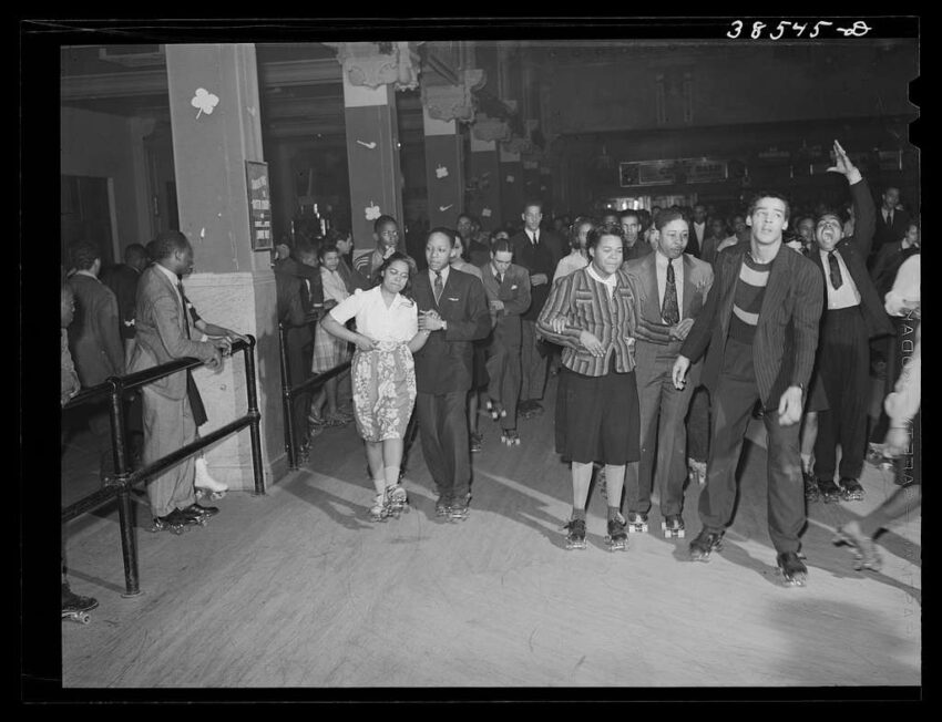 Roller skating at the Savoy Ballroom in Chicago, 1941