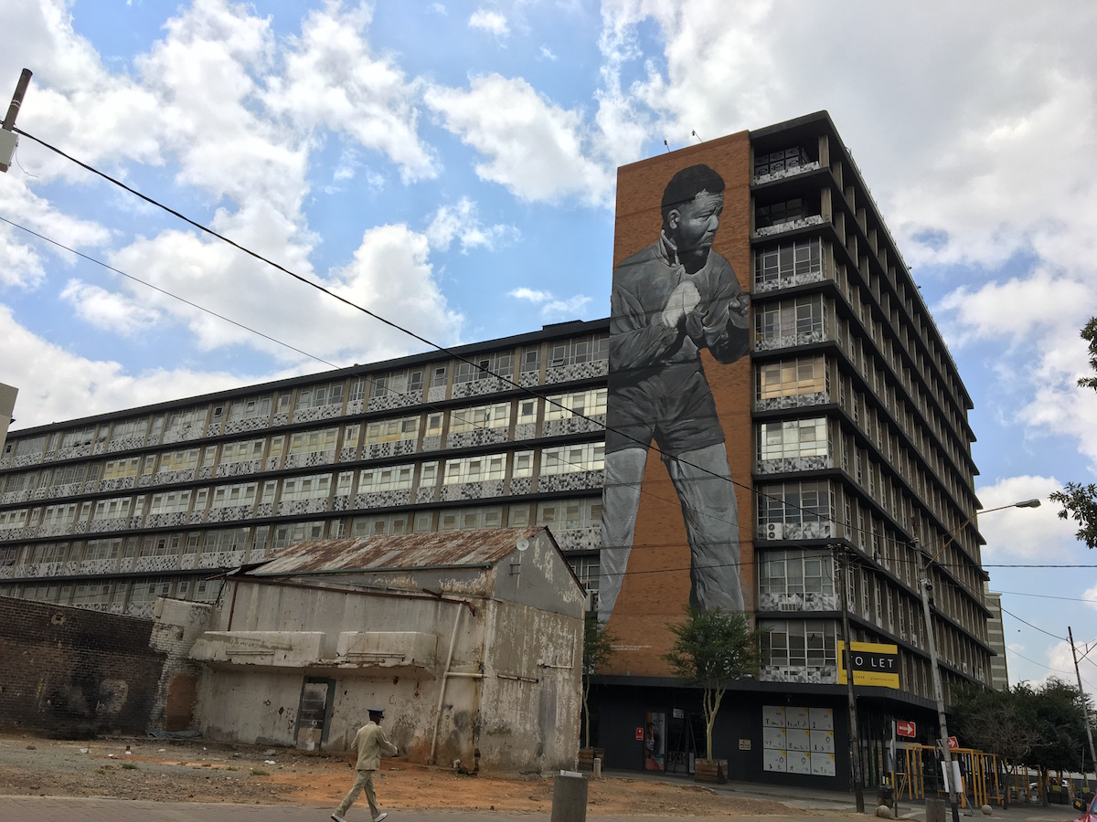 Mandela art on building in Joburg