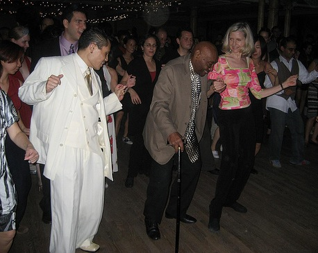 Doing the shim sham with Frankie Manning 2009